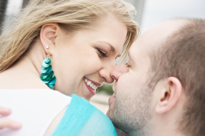 Pale but happy in an engagement photo on the beach/ photo by Jennifer Jackson