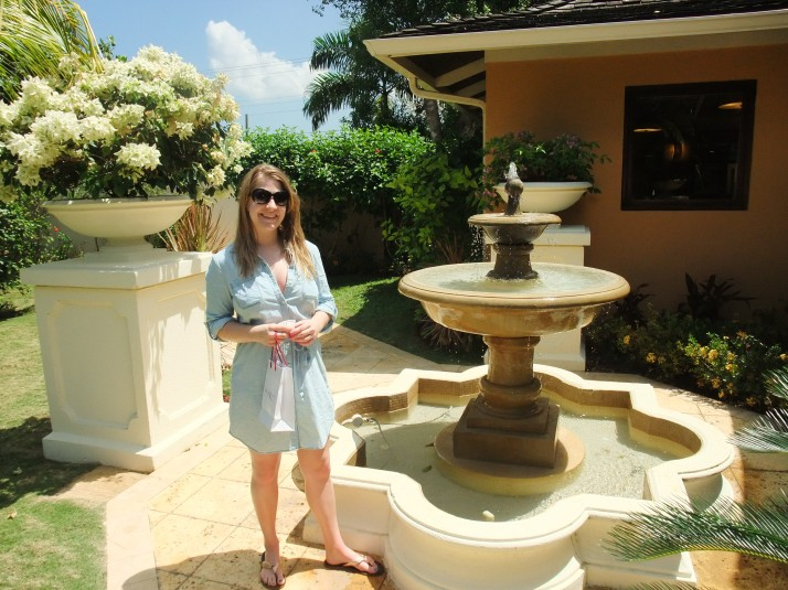 Posing near the beautiful fountain outside Red Lane Spa.
