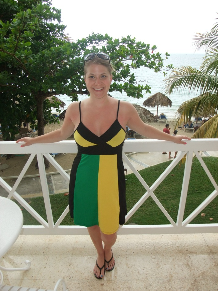 Sporting my new Jamaica dress!